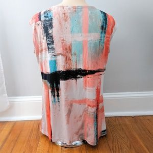 Worthington Tops - Worthington Cap Sleeve Paint Patterned Blouse